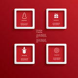Christmas web or infographic elements in white. Frames with 3d effect. Eps10 vector illustration Stock Image