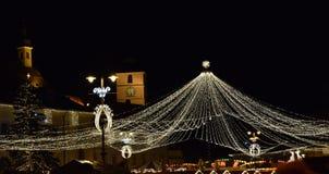Christmas web of lights Royalty Free Stock Photo