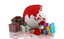 Christmas on the web - Valentine's Day 2. Boxes with gifts for Christmas, Chinese New Year and Valentine's Day. Oriental Culture. Asian traditions and wishes of Royalty Free Stock Images