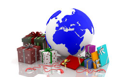 Christmas on the web - Valentine's Day. Boxes with gifts for Christmas, New Year and Valentine's Day. Western Culture. European traditions and wishes of Royalty Free Stock Photos