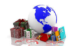 Christmas on the web - Valentine's Day 3. Boxes with gifts for Christmas, New Year and Valentine's Day. Western Culture. Traditions and wishes of prosperity for Royalty Free Stock Images