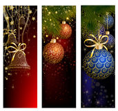 Christmas website banner set decorated with Xmas tree, jingle bell, snowflakes and lights Stock Images