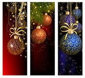 Christmas website banner set decorated with Xmas tree, jingle bell, snowflakes and lights Royalty Free Stock Photography