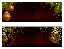 Christmas website banner set decorated with Xmas tree, jingle bell, snowflakes and lights Stock Photography