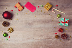 Christmas website header design with rustic decorations. View from above Stock Photo