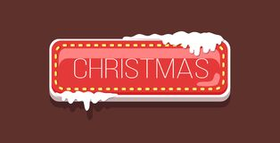 Christmas Web Button Covered with Snow Vector Icon. Christmas website label, creative interface sign isolated vector. Web push button covered with snow, download Royalty Free Stock Photo