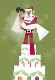 Christmas wedding. Santa claus lifting up a bride while standing on a giant wedding cake Stock Images