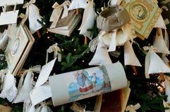 Christmas,christmas markets,markets,Christmas decorations. Christmas Wedding tree with many invitations Royalty Free Stock Image