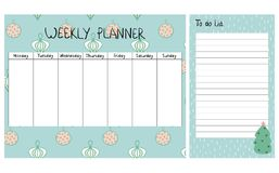 Christmas weekly planner. Cute Christmas and holiday weekly planner with Christmas elements Stock Photography