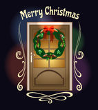 Christmas Welcome Wreath door Illustration Royalty Free Stock Photos