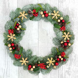 Christmas Welcome Wreath Stock Images