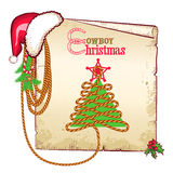 Christmas western background with red Santa hat an. D old paper card for text Stock Photography