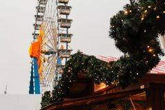 Christmas wheel at Alexanderplatz in Berlin, Germany. stock photo