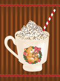 Christmas whipped cream hot coffee Royalty Free Stock Photo