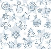 Christmas white background, grey outline drawings, seamless, vector. Royalty Free Stock Photos