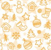 Christmas white background, orange outline drawings, seamless, vector. Stock Photos