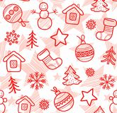 Christmas white background, red outline drawings, seamless, vector. Royalty Free Stock Images