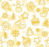 Christmas white background, yellow outline drawings, seamless, vector. Royalty Free Stock Photography