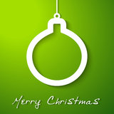 Christmas white ball applique on green  background Stock Photo