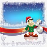 Christmas white balls and dwarf on blue Royalty Free Stock Images