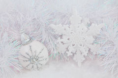 Christmas White Baubles Stock Image