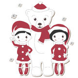 Christmas white bear with  boy and girl Royalty Free Stock Photo