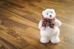 Christmas, white bear. On wood Royalty Free Stock Images