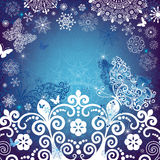 Christmas white-blue frame. Christmas white and blue frame with snowflakes and snow butterfly (vector Stock Photo