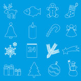 Christmas white and blue outline icons collection eps10 Royalty Free Stock Photo