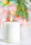 Christmas white candle Royalty Free Stock Image