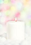 Christmas white candle Stock Photo