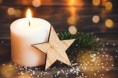 Christmas white candle Stock Images