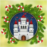 Christmas white castle, fireworks and fir-tree. Christmas card with white castle, fireworks, candy sticks and branches of Christmas tree. Christmas illustration Stock Images