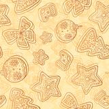 Christmas white chocolate seamless pattern Stock Photos