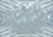 Christmas white fir frame snow background. Holiday background decorated with spruce branches. Vector and raster versions Stock Images