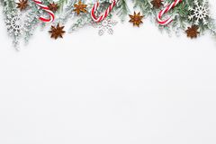 Christmas white Fir tree branches with stars decorations.  stock photo