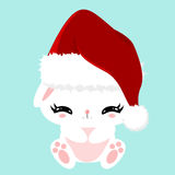 Christmas white fluffy cute bunny. Childrens character. New Year poster. Pet in a Santa Claus hat. Royalty Free Stock Photos