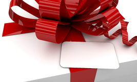 Christmas white gift box red ribbon Stock Photos
