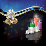 Christmas white greeting with bells and bow. Abstract Christmas black blue greeting with bells and candles Stock Image