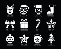 Christmas white icons with shadow set on black Stock Photo