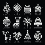 Christmas white icons with stroke on black Stock Images