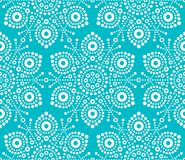 Christmas white snowflake seamless pattern, dot art design, Australian folk art, Aboriginal style. Xmas white snowflakes wallpaper on turquoise background, cute Vector Illustration