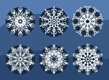 Christmas white snowflakes set illustration Royalty Free Stock Photos