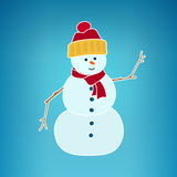 Christmas White Snowman on a Blue Background Stock Images