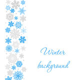 Christmas white square background with snowflakes to the left border Royalty Free Stock Image