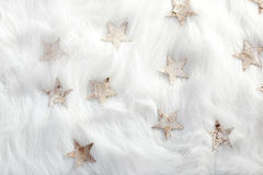Christmas white stars on fur snow Stock Photography