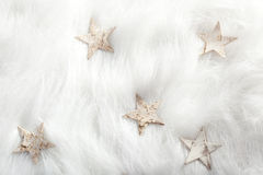 Christmas white stars on fur snow Stock Photos