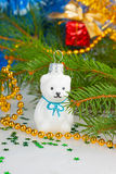 Christmas white teddy bear with decorations under the Christmas Royalty Free Stock Images
