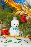 Christmas white teddy bear with decorations Royalty Free Stock Photography