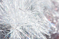 Christmas white tinsel closeup Royalty Free Stock Photography
